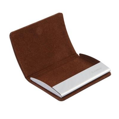 齐心 A7879 VIP便携式皮面名片夹盒装 咖啡色