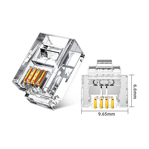 山泽DHT350 6P4C电话水晶头(50个/盒)