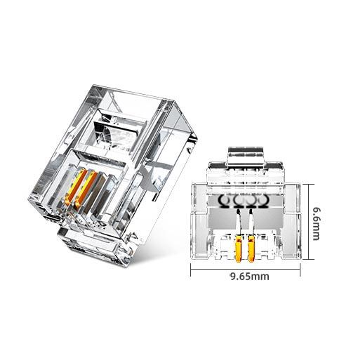 山泽SJT-32100 6P2C电话水晶头(100个/盒)