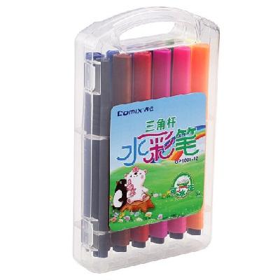 齐心OP1005-12三角杆可洗水彩笔