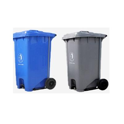 环群分类垃圾桶-可回收+其他垃圾(组)(脚踏带轮100L)