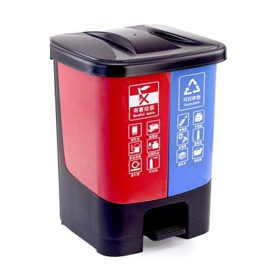 塑料分类垃圾桶-红蓝连体40L(单桶20L)