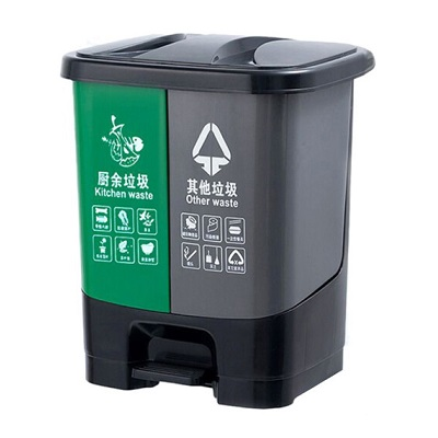塑料分类垃圾桶-绿灰连体40L(单桶20L)
