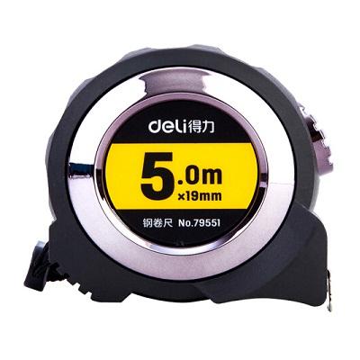 得力79551全包胶自锁钢卷尺 精准测量便携尺子5m(黑色)单把