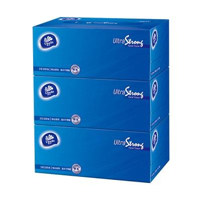 维达V2260抽取式面巾纸 160*195mm超韧3层100抽盒装*3盒