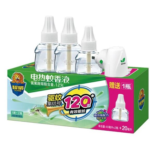 超威电蚊香液 雨后薄荷香型 3瓶1器/盒