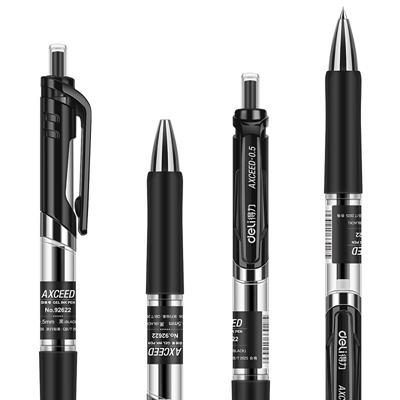 得力S782按动中性笔替芯0.5mm子弹头(黑)