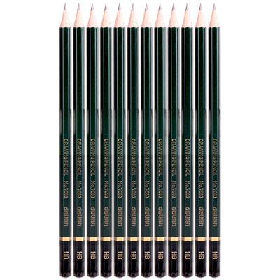 得力7083-HB高级绘图铅笔(绿色)(12支/盒)