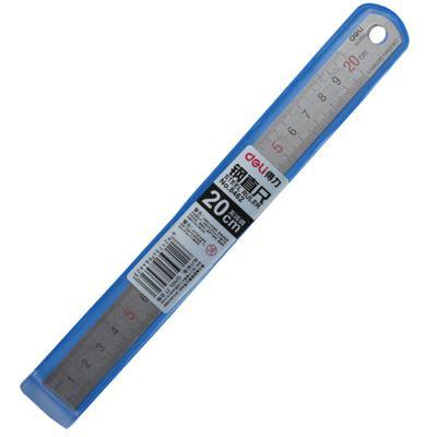 得力8462双边刻度钢直尺20cm(银色)单把