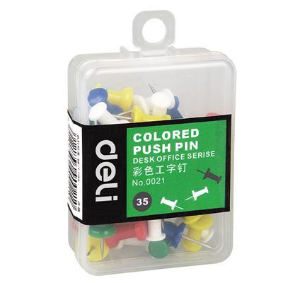 得力0021彩色工字钉(混)(35枚/盒)