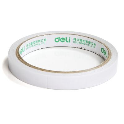 得力30401棉纸双面胶带12mm*10y*80um(白)(24卷/袋)