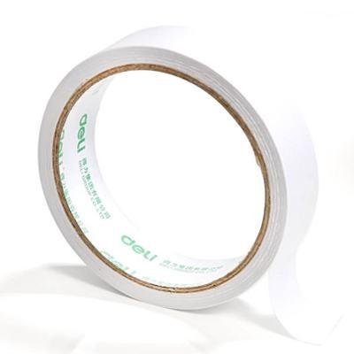 得力30407棉纸双面胶带24mm*10y*80um(白)(1卷/袋)