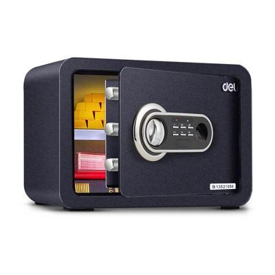 得力33473指纹密码双保险保管箱(黑色)
