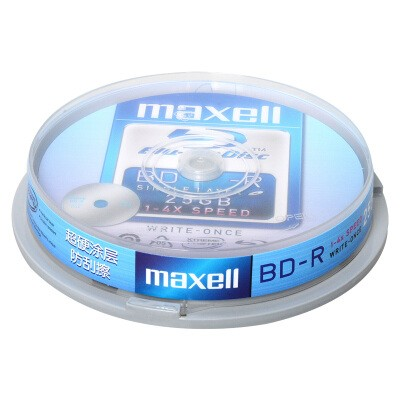麦克赛尔刻录光盘 光碟空白光盘蓝光碟4速 10片/筒