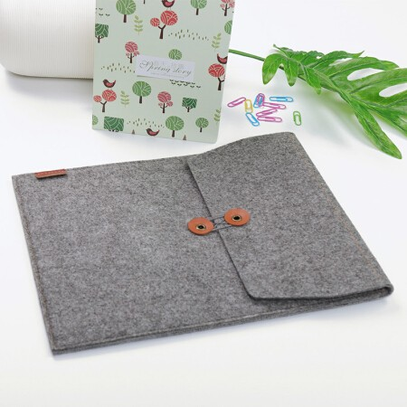 齐心A5207毛毡竖式便携文件套/文件袋/收纳袋灰