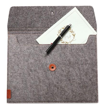 齐心A5208毛毡横式便携文件套/文件袋/收纳袋A4灰