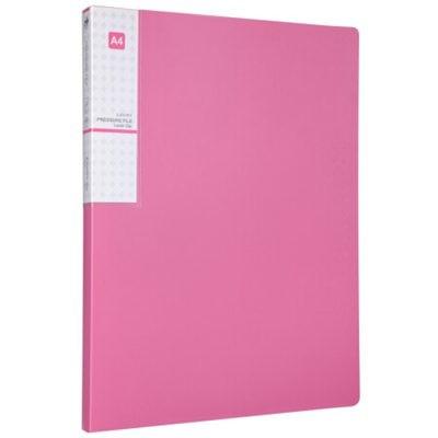 齐心A612抗菌单强力夹+插页A4文件夹资料夹银红