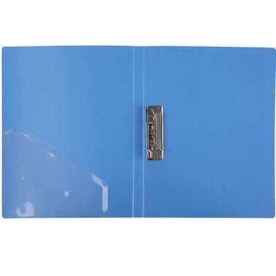 齐心EA62单强力夹+插页A4文件夹蓝色单个装