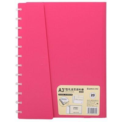 齐心A3/A4横式T型孔活页资料册20页文件夹红A3123
