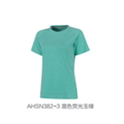 李宁女款短袖T恤运动上衣AHSN382-3混色荧光玉绿XL