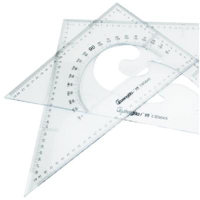 广博CB5645直角三角尺子+等腰三角板含量角器2把装45CM