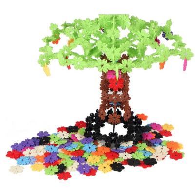 歌珊大号加厚800片装益智组装拼插树叶款雪花片积木