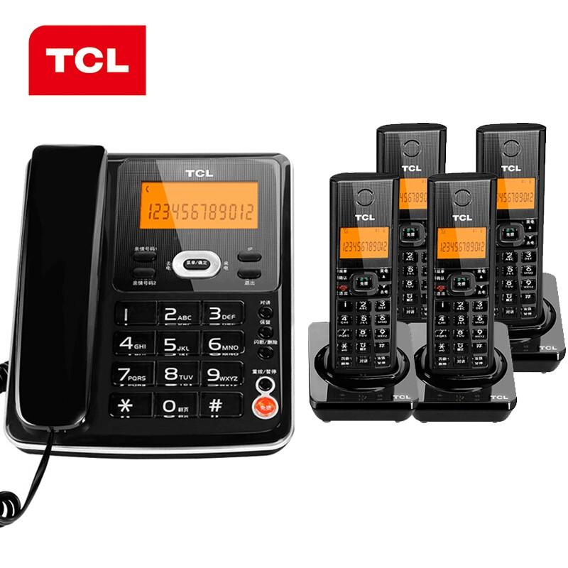 TCL无绳电话机D60套装-无线座机套装一拖四-黑色
