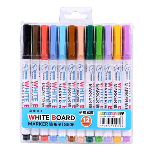 得力 S506 混色12色易擦白板笔