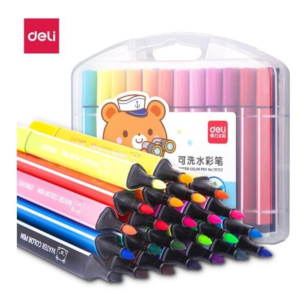 得力70722三角杆水彩笔 24色/盒